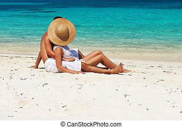 par, em, branca, relaxe, ligado, um, praia, em, maldives