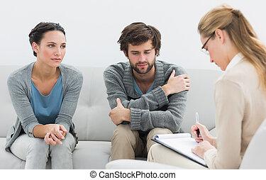 par, em, reunião, com, um, financeiro, conselheiro