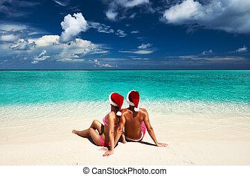 par, em, santa, chapéu, ligado, um, praia, em, maldives