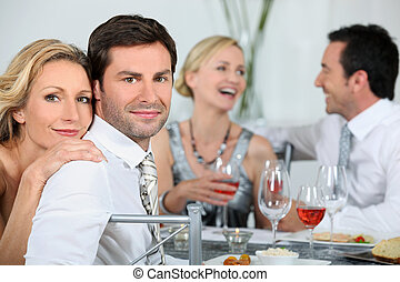 par, em, um, partido jantar