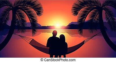 par, em, um, rede, desfruta, a, pôr do sol, praia