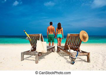 par, em, verde, ligado, um, praia, em, maldives