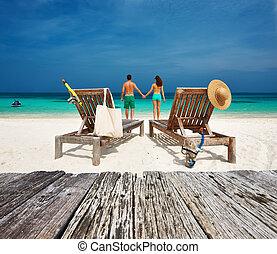 par, em, verde, relaxe, ligado, um, praia, em, maldives