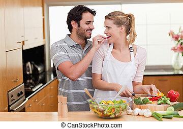 par, encantador, cozinhar