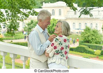 par, encantador, maduras, ao ar livre