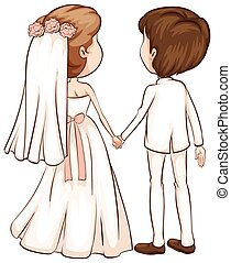 par, esboço, simples, recentemente, wed