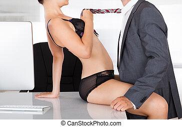par, escritório, íntimo