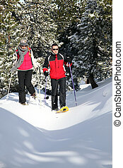 par, esqui, sapatos, andar