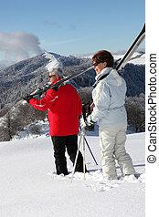 par, esqui, velho