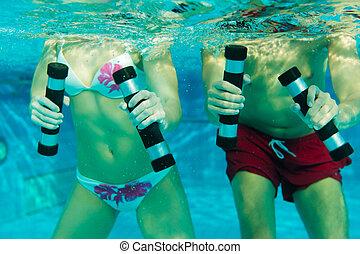 par, exercitar, piscina, natação