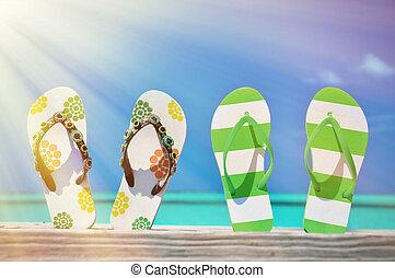 par, exuma, två, flip-flops, bahamas, atlantic., mot