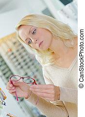 par, färsk, försökande, glasögon