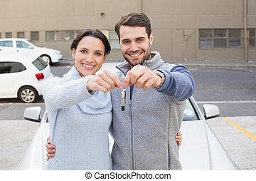 par, färsk, holdingen, le, ung, nyckel