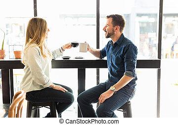 par, fazer, um brinde, com, café
