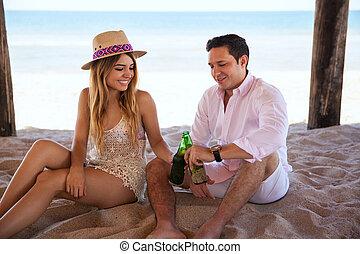 par, fazer, um brinde, com, cerveja