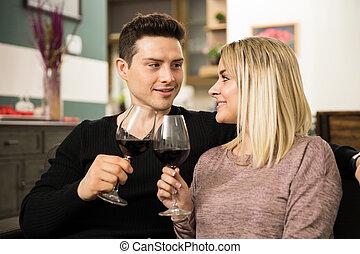 par, fazer, um brinde, com, vinho