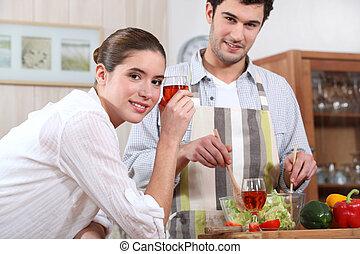 par, fazer, um, jantar