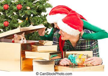 par feliz, árvore., jovem, natal