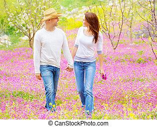 par, feliz, ao ar livre