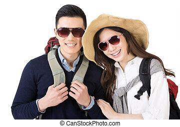 par, feliz, asiático, viajando