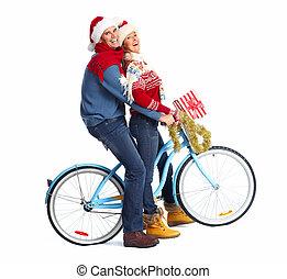 par, feliz, bicicleta, present., natal