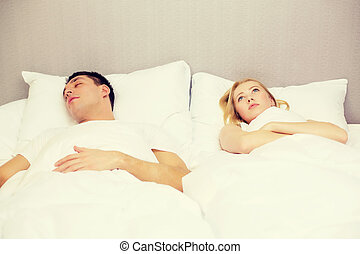 par, feliz, cama, dormir