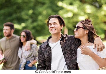 par feliz, com, amigos, em, verão, parque