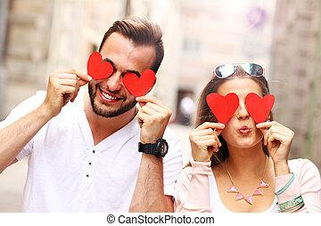 par feliz, com, corações