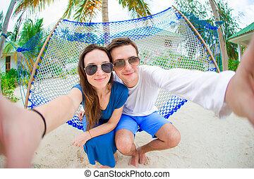 par feliz, fazer, selfie, relaxante, em, rede