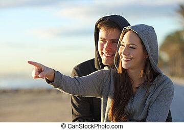 par, feliz, horizonte, apontar, adolescentes