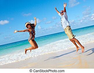 par feliz, pular, ligado, a, praia.