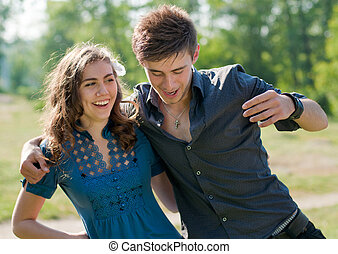par, feliz, rir, jovem