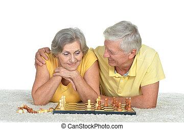 par, feliz, xadrez, idoso, tocando