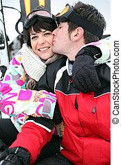 par, feriado, romanticos, esquiando