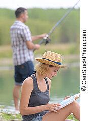 par, fiske, på, pir