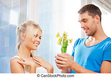 par, flores, romanticos