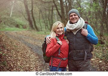 par, floresta, hiking