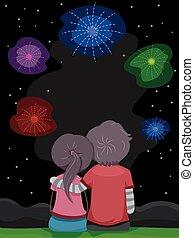 par, fogos artifício, stickman, vista traseira