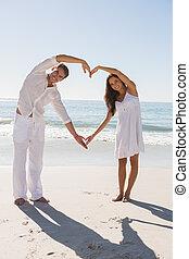 par, forma, coração, braços, romanticos, formando