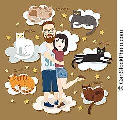 par, gatos, amor