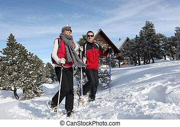 par, genom, snö, trekking