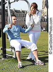 par, ginástica, ao ar livre