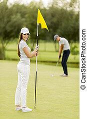 par, golfe, jovem, tocando
