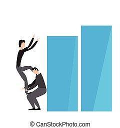 par, gráfico, homens negócios, negócio