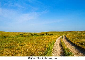 par, gravier, collines silex, route