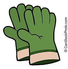 par, guantes, jardinería, verde, mano