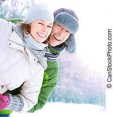 par, ha, lycklig, outdoors., semester, vinter, nöje, snow.