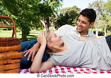 par, ha picknick, i parken