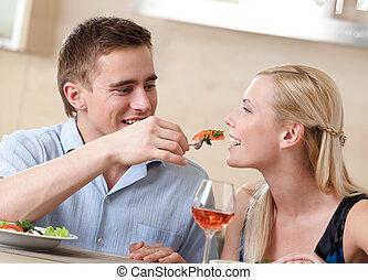 par, har, romantisk, kvällsmat