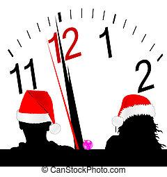 par, hat, rød baggrund, stueur